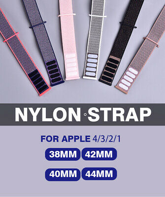 Woven Nylon Band For Apple Watch 38/42/40/44mm Sport Loop iWatch Series 4/3/2/1 4