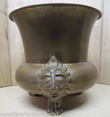 Old Figural Brass Planter Pot Urn detailed heads feet wonderful aged patina 2