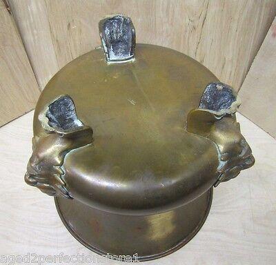 Old Figural Brass Planter Pot Urn detailed heads feet wonderful aged patina 10
