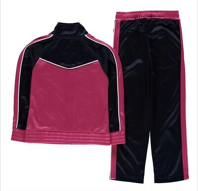 Girls Donnay Childrens Tracksuit Top Bottoms Black Pink Retro Age 9/10 Years New 3