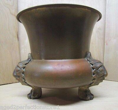Old Figural Brass Planter Pot Urn detailed heads feet wonderful aged patina 5