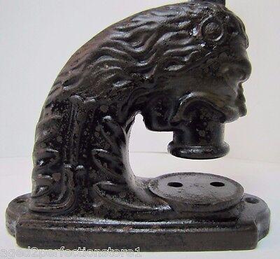 Antique Figural Cast Iron Lions Head ToC embosser paperweight doorstop shelf art