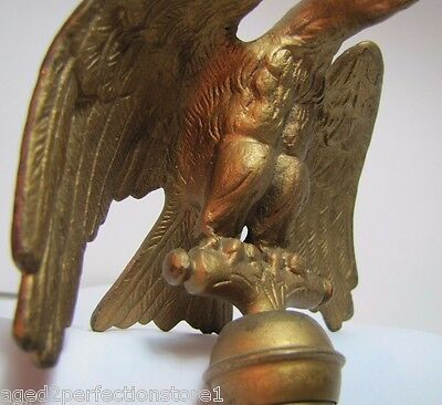 Old Eagle Finial Topper figural ornate high relief detail flag pole topper metal 4