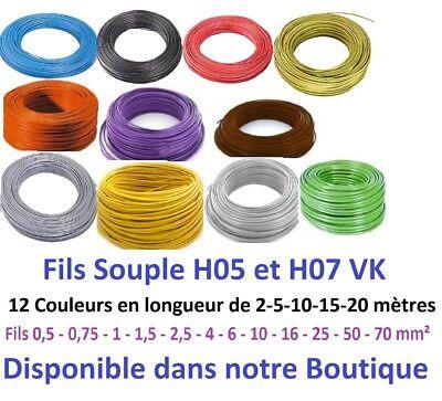 Fil électrique souple HO5/7-VK 0,5-0,75-1-1,5-2,5 mm² 5-10-15-20 m 12 Couleurs 3