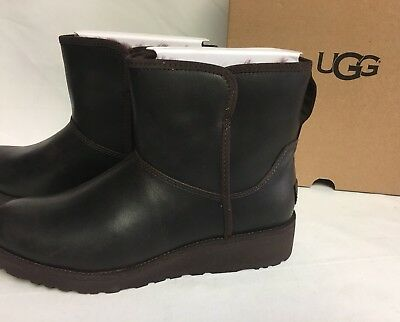 44f71b1a3d3 ... UGG Australia KRISTIN Leather CLASSIC SLIM Stout Brown WEDGE ANKLE BOOTS  1019640 8