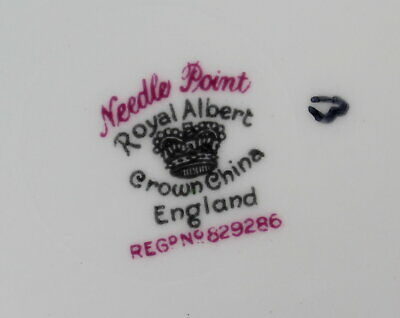 Royal Albert Needle Point Handled Cake Plate 10 inches Vintage Bone EUC 4