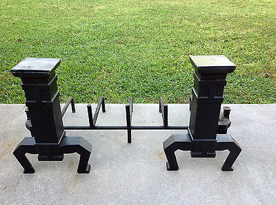 "Vintage-Fireplace-AndIrons-Late-1800's-Art-Noveau-Black-Cast Iron-16.5x 11"" Wide 7"