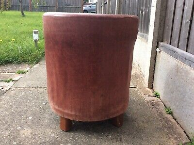 Vintage Real Leather Oxblood Stool 3
