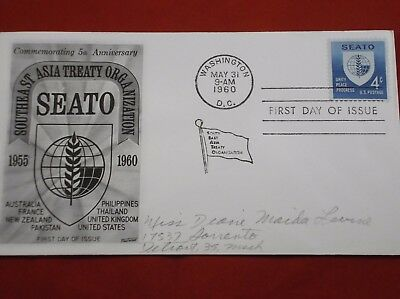 "Scott# 1151 ""SEATO 5th Anniversary"" FDCs - plate block & single (Fleetwood)"