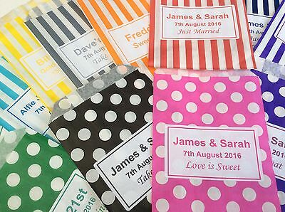 Personalised Candy Striped Polka Dot Sweet Candy Wedding Favour Birthday Bags 2