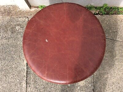 Vintage Real Leather Oxblood Stool 2