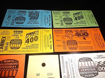 Lot Of 8 Vintage Collectible 1996 Unused NASCAR Racing Tickets Souvenirs MINT VF 3