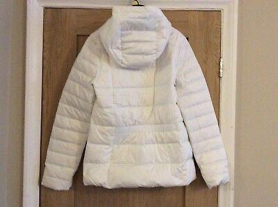 b0b8c3496b50 ... Women s Nike Down Fill Hooded Coat White Pale Blue Size Small 854862-100  2