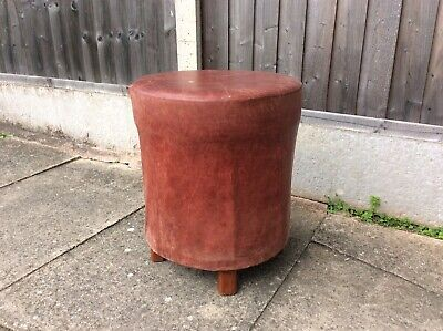 Vintage Real Leather Oxblood Stool 8