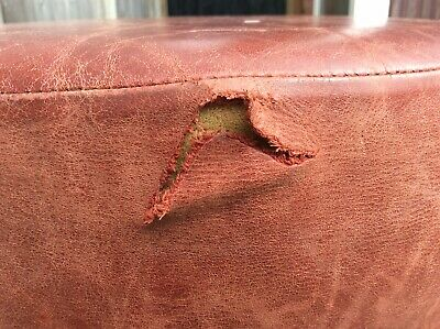 Vintage Real Leather Oxblood Stool 5