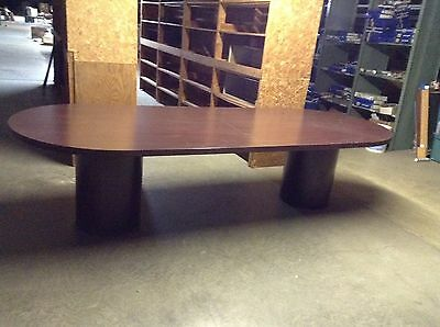 USED RACETRACK XX CONFERENCE TABLE WITH ROUND BASES BY HON - Round conference table for 10