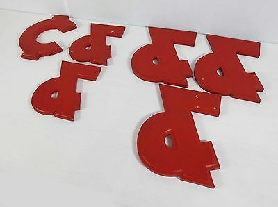 "Vtg Red Theater Marquee, ""&"" Ampersand, Cents, 8""-10"" Cast Aluminum,Metal Symbol"