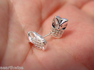 WISE OWL STUD EARRINGS 925 SILVER PLATED Wicca Witch Pagan Goth 4