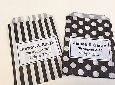 Personalised Candy Striped Polka Dot Sweet Candy Wedding Favour Birthday Bags 9