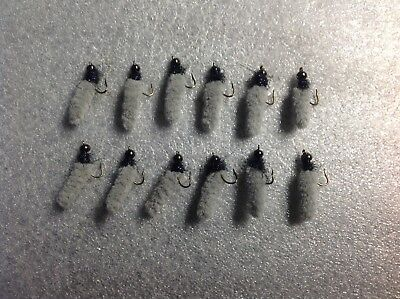6 Chartreuse fly fishing ice mop flies bully spiders # 10 hooks trout Panfish Bl