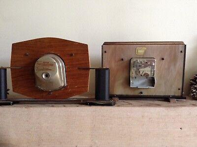 2 Metamec Mantel Clocks Spares Or Repair 1920-1950'S Vintage Wood & Onyx 8