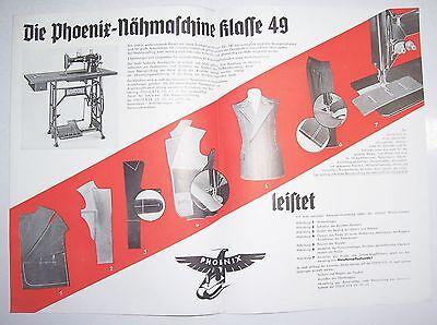 Prospekt Phoenix Schneider Nähmaschine 1935 Baer & Rempel Bielefeld ! (D