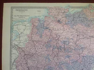 1874 Edward Stanford Steel Engraved Hand Coloured Map - Germany I / 17.5 X 13.5