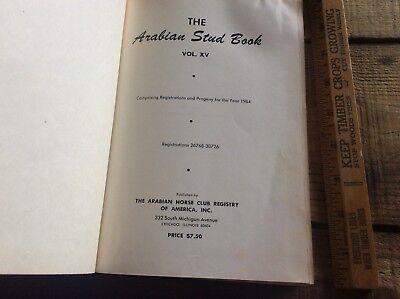 VTG The Arabian Stud Book, Hardcover, Volume XV 1964, Progeny & Registration