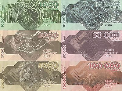 private issue Elobey Grande Set of 6 banknotes 2017 UNC