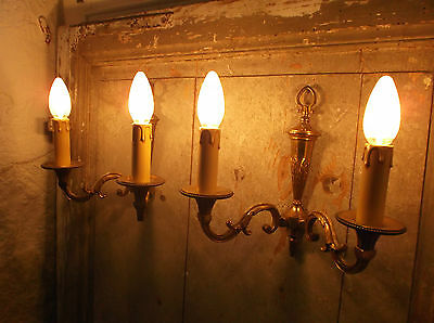 French a pair of patina gold bronze wall light sconces exquisite vintage 2