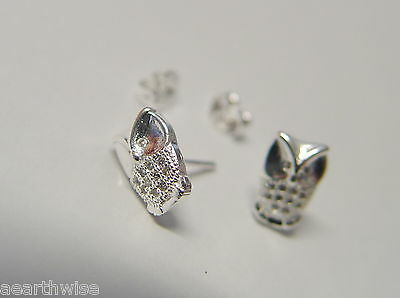 WISE OWL STUD EARRINGS 925 SILVER PLATED Wicca Witch Pagan Goth 7
