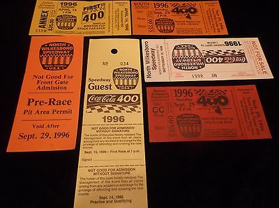 Lot Of 8 Vintage Collectible 1996 Unused NASCAR Racing Tickets Souvenirs MINT VF 4