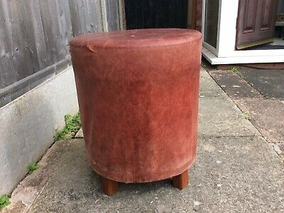 Vintage Real Leather Oxblood Stool 4