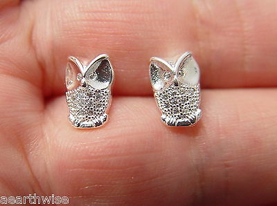 WISE OWL STUD EARRINGS 925 SILVER PLATED Wicca Witch Pagan Goth