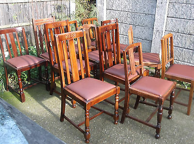 LARGE COLLECTION OF OAK 1920s DINING CHAIRS- IDEAL FOR PUBS, RESTAURANTS ETC 6