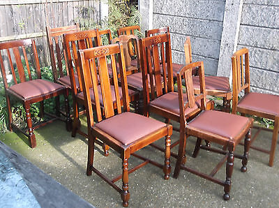 LARGE COLLECTION OF OAK 1920s DINING CHAIRS - IDEAL FOR PUBS, RESTAURANTS ETC 10