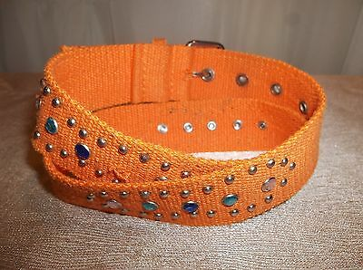 ORANGE Studded Jeweled Canvas BELT Girl's Size SMALL/MEDIUM 2