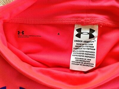 NWT UNDER ARMOUR Girl's Crop Pant Leggings Pink Size 4 Retail $27 6