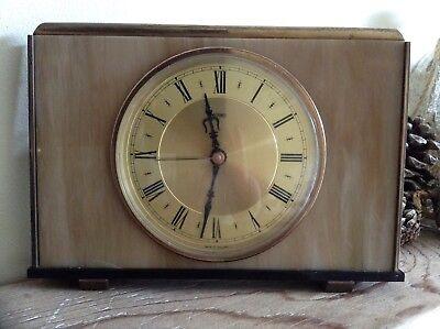 2 Metamec Mantel Clocks Spares Or Repair 1920-1950's Vintage Wood & Onyx 5