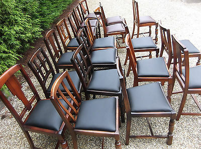 LARGE COLLECTION OF OAK 1920s DINING CHAIRS - IDEAL FOR PUBS, RESTAURANTS ETC 3