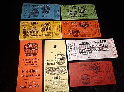 Lot Of 8 Vintage Collectible 1996 Unused NASCAR Racing Tickets Souvenirs MINT VF 2