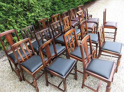 LARGE COLLECTION OF OAK 1920s DINING CHAIRS - IDEAL FOR PUBS, RESTAURANTS ETC 2