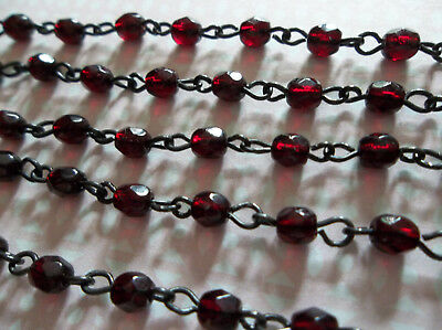 "4mm Opaque Ivory Bead Chain Qty 18/"" Glass Beads on Jet Black Rosary Chain"