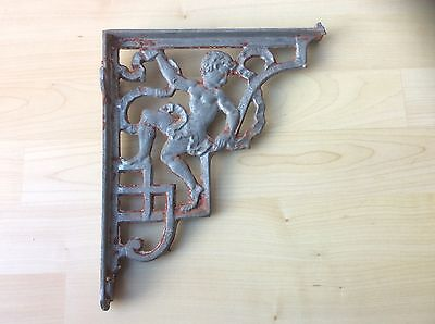 Pair of Antique Cast Iron Shelf Brackets with Cherub Design with Reg. Number 5