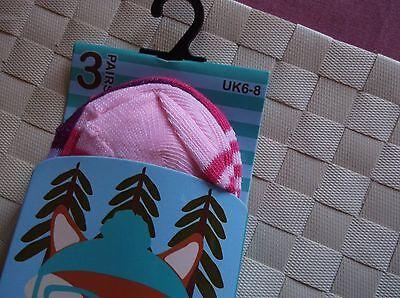 Brand>New>3 Pack>Girls>Pink>Woodland>Friends>Socks> Uk Size 6-8 3