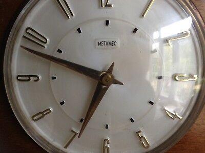 2 Metamec Mantel Clocks Spares Or Repair 1920-1950'S Vintage Wood & Onyx 3