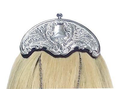 New Scottish Kilt Sporran White Horse Hair Thistle Cantle/Piper Kilt Sporrans 3 • EUR 86,43