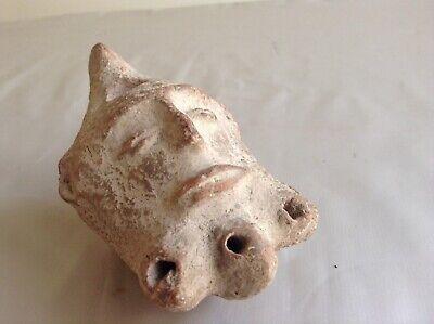 Rare Ancient Roman Terracotta Oil Lamp Satyr Head 1st Century A.D Collectable 2