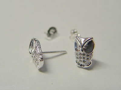 WISE OWL STUD EARRINGS 925 SILVER PLATED Wicca Witch Pagan Goth 5
