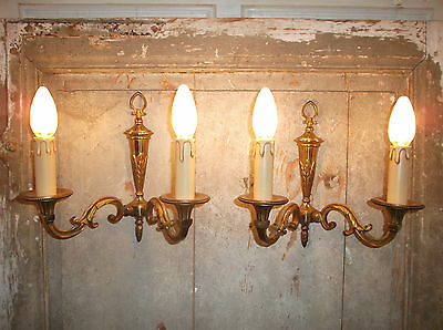 French a pair of patina gold bronze wall light sconces exquisite vintage 3